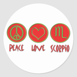Peace Love Scorpio Classic Round Sticker