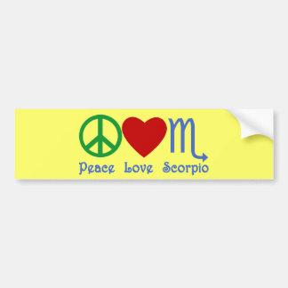 Peace Love Scorpio Zodiac Design Bumper Stickers