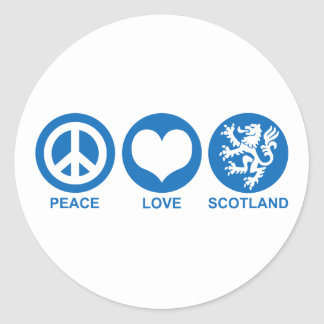 Peace Love Scotland Round Sticker
