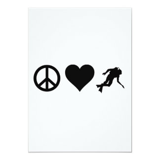 Peace Love Scuba Diving 13 Cm X 18 Cm Invitation Card