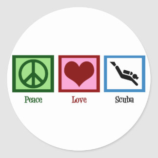 Peace Love Scuba Diving Classic Round Sticker