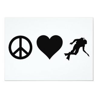Peace Love Scuba Diving 5x7 Paper Invitation Card