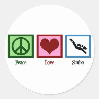 Peace Love Scuba Diving Round Sticker