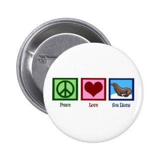 Peace Love Sea Lions 6 Cm Round Badge
