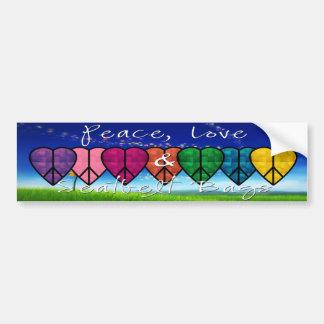Peace, Love & Seatbelt Bags Bumper Sticker