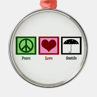 Peace Love Seattle Silver-Colored Round Decoration