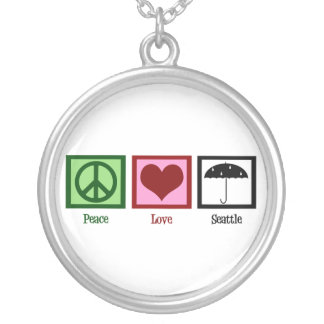Peace Love Seattle Silver Plated Necklace