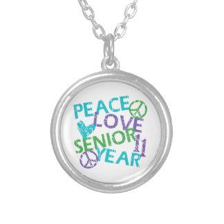 Peace Love Senior Year 2011 Round Pendant Necklace