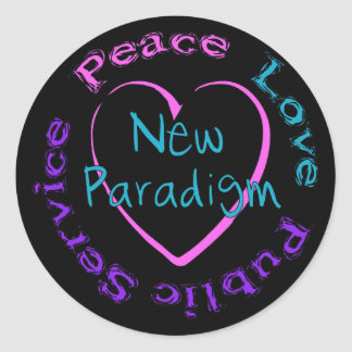 Peace Love Service Round Sticker