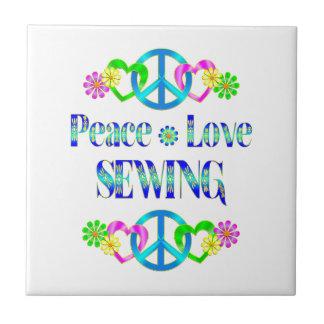 Peace Love Sewing Ceramic Tiles