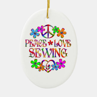 Peace Love Sewing Christmas Ornament
