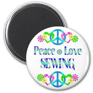 Peace Love Sewing Fridge Magnet