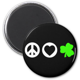 Peace Love Shamrock 6 Cm Round Magnet