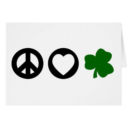 Peace Love Shamrock Card