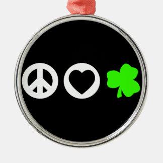 Peace Love Shamrock Christmas Tree Ornament
