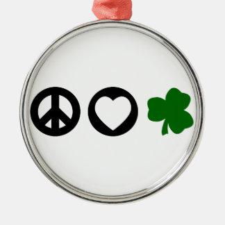 Peace Love Shamrock Christmas Ornament