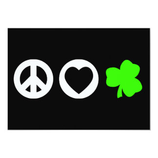 Peace Love Shamrock Custom Invitations