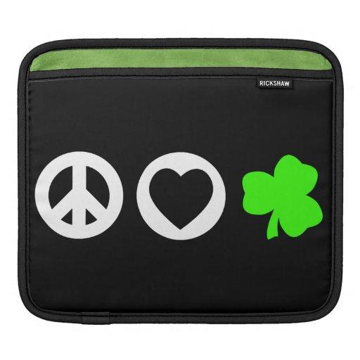 Peace Love Shamrock Sleeve For iPads