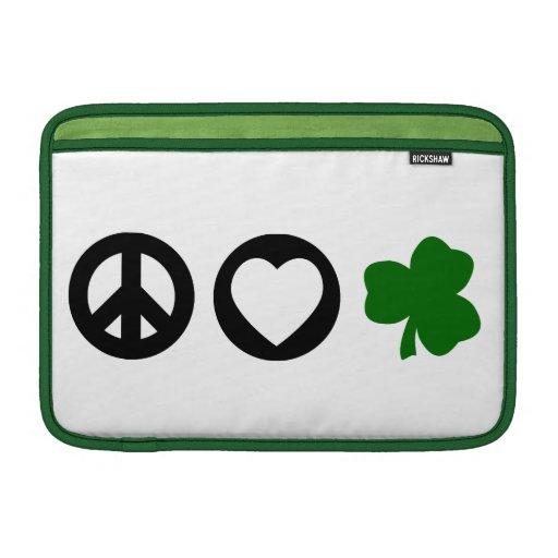 Peace Love Shamrock MacBook Sleeves