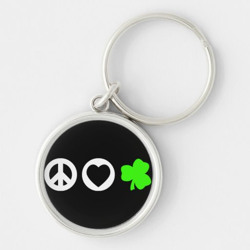 Peace Love Shamrock Keychains