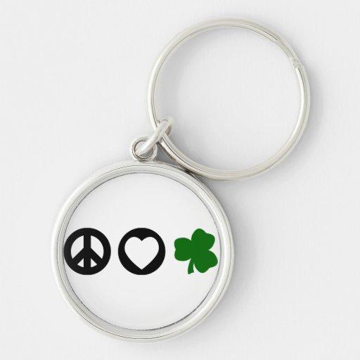 Peace Love Shamrock Key Chains