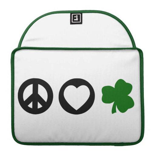 Peace Love Shamrock MacBook Pro Sleeve