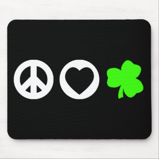 Peace Love Shamrock Mouse Pads