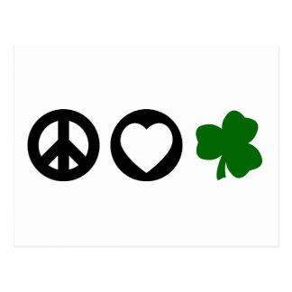Peace Love Shamrock Postcard