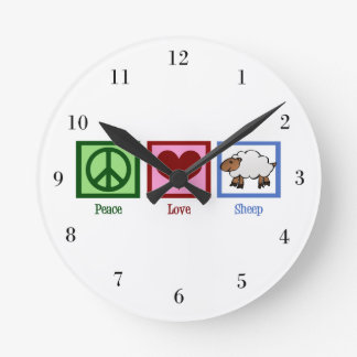 Peace Love Sheep Round Clock