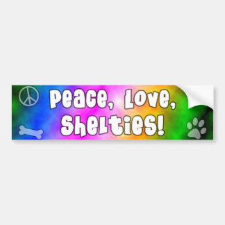 Peace Love Shelties Bumper Sticker
