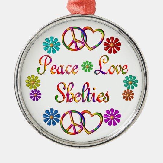 PEACE LOVE SHELTIES CHRISTMAS ORNAMENT
