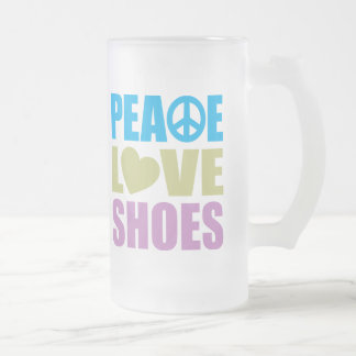 Peace Love Shoes Frosted Glass Mug