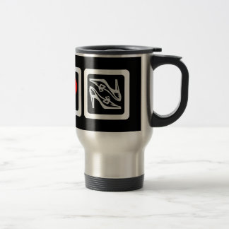 Peace love shoes stainless steel travel mug
