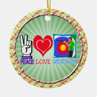 PEACE LOVE SHOOT CHRISTMAS ORNAMENT