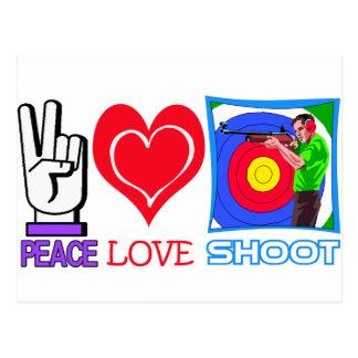 PEACE LOVE SHOOT (Gun Lovers) Postcard