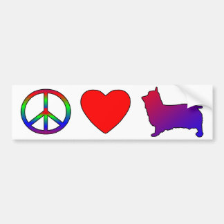 Peace Love Silky Terriers Bumper Stickers