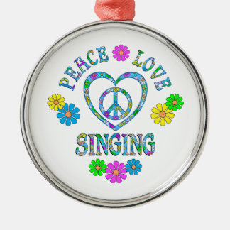 Peace Love Singing Silver-Colored Round Decoration