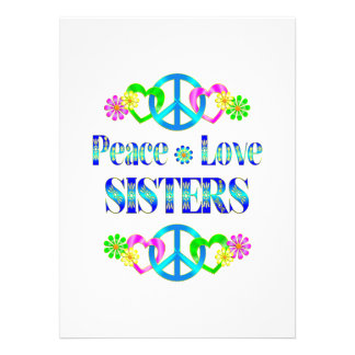 Peace Love Sisters Personalized Invites