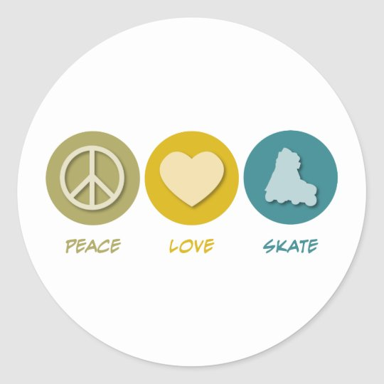 Peace Love Skate Classic Round Sticker