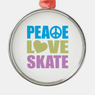 Peace Love Skate Silver-Colored Round Decoration