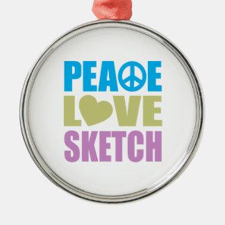 Peace Love Sketch Christmas Ornament