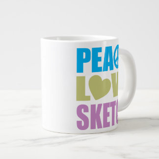 Peace Love Sketch 20 Oz Large Ceramic Coffee Mug