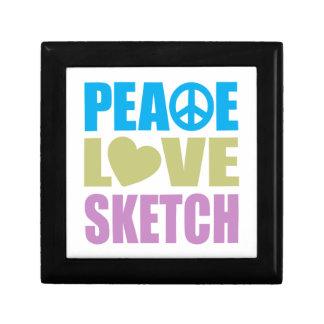 Peace Love Sketch Small Square Gift Box