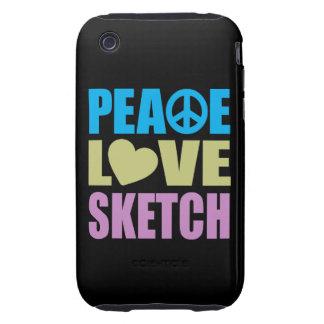 Peace Love Sketch Tough iPhone 3 Case