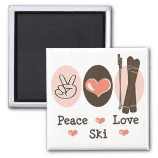 Peace Love Ski Magnet