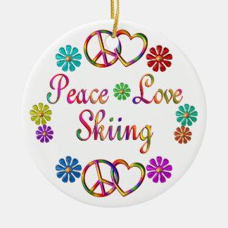 PEACE LOVE SKIING CHRISTMAS ORNAMENT