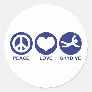 Peace Love Skydive Classic Round Sticker