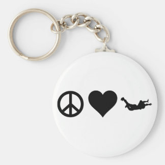 Peace Love Skydiving Basic Round Button Key Ring