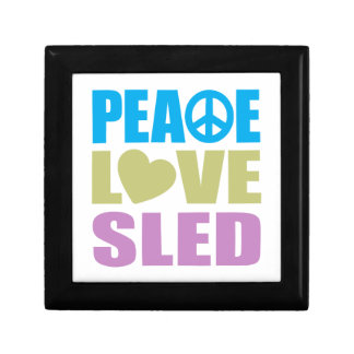 Peace Love Sled Small Square Gift Box