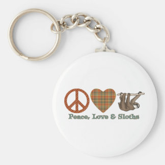 Peace, Love & Sloths Basic Round Button Key Ring